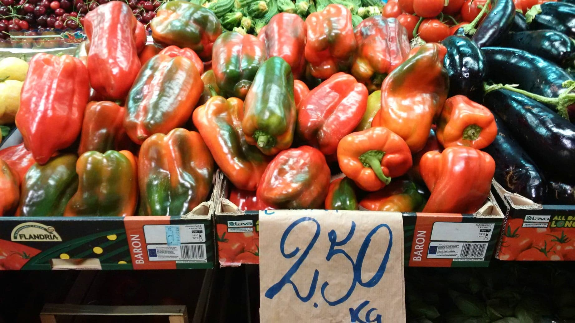 Summer peppers at the market