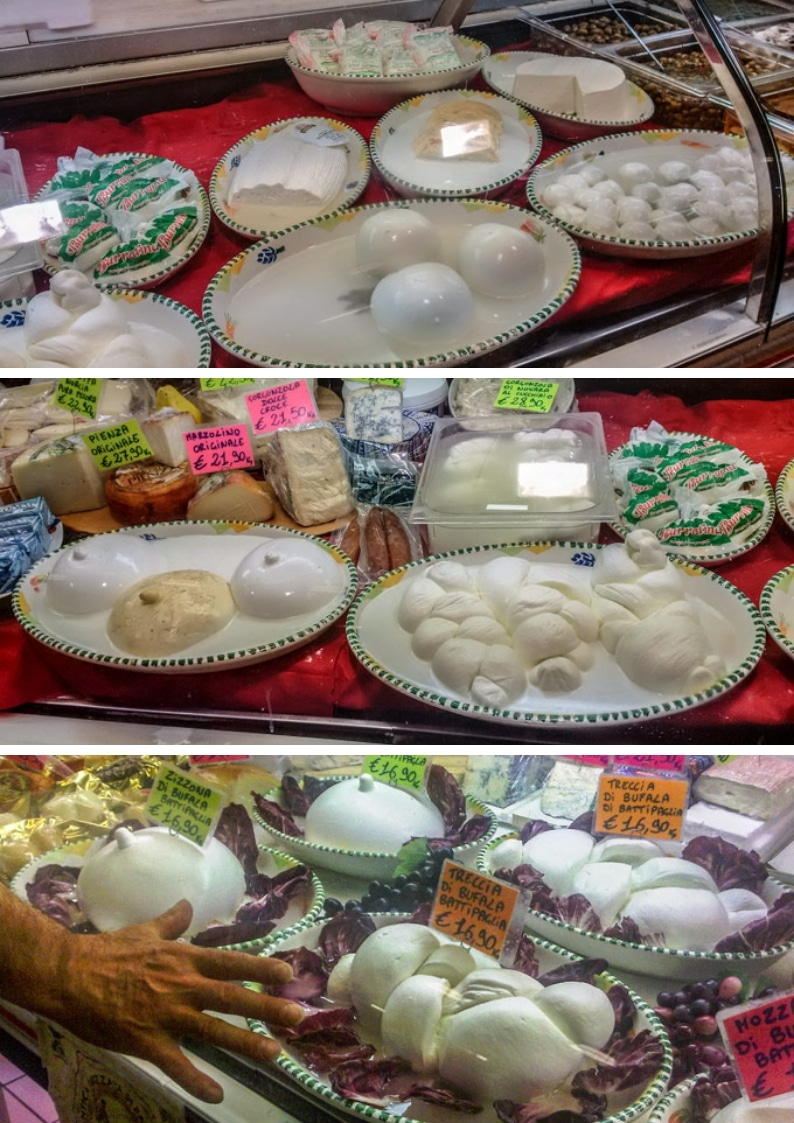 different types of mozzarella in at the cheese-monger