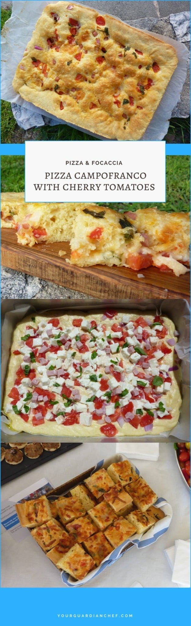 Pizza campofranco focaccia with cherry tomatoes mozzarella basil and anything else you want to add