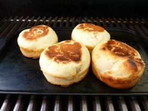 English muffins check with a pin if they are cooked inside