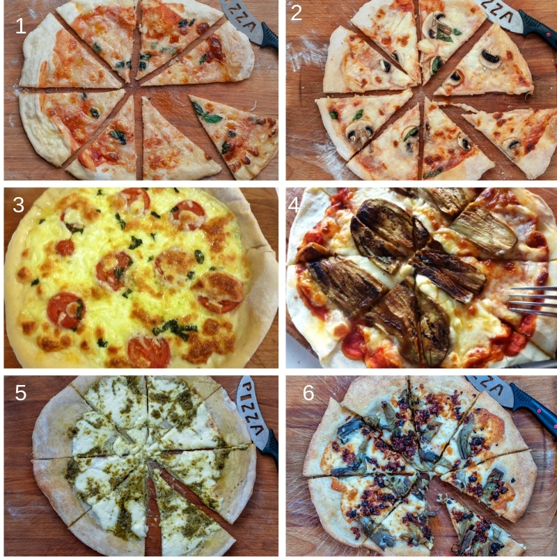 6 different types of pizza