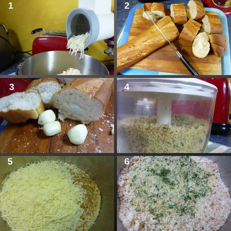 Making the Italian seasoned breadcrumbs