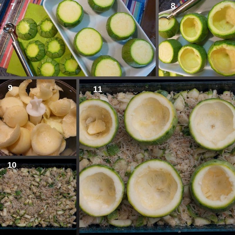 Preparing the zucchini for stuffing