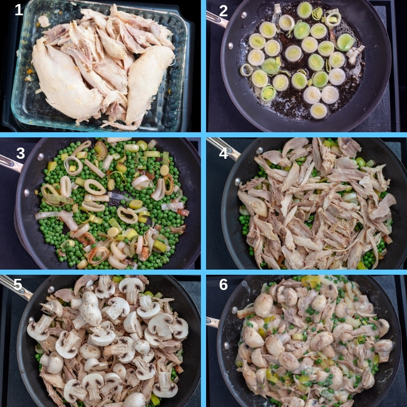 Step by step chicken pie filling
