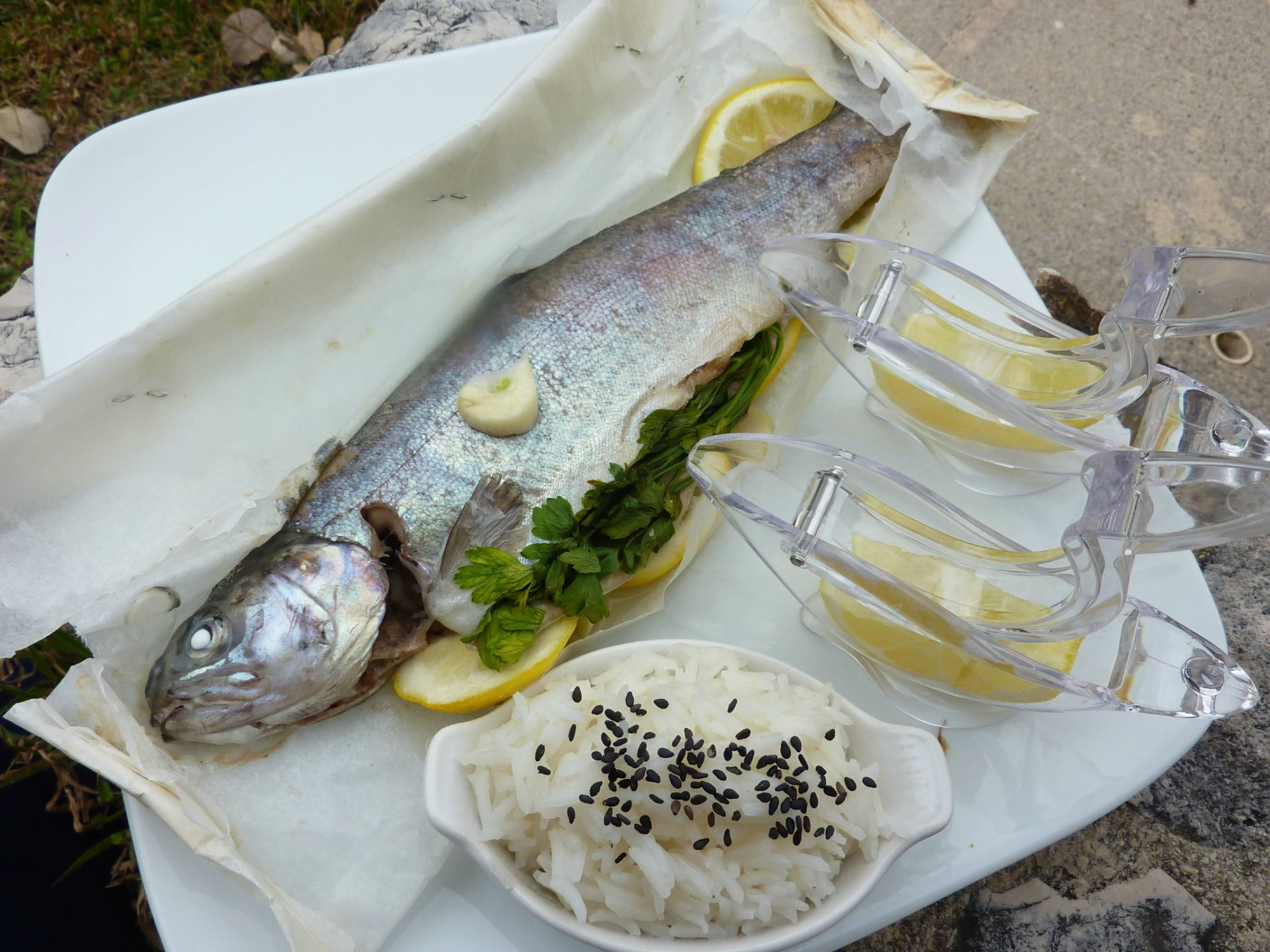 trout parcel served basmati rice trout recipe