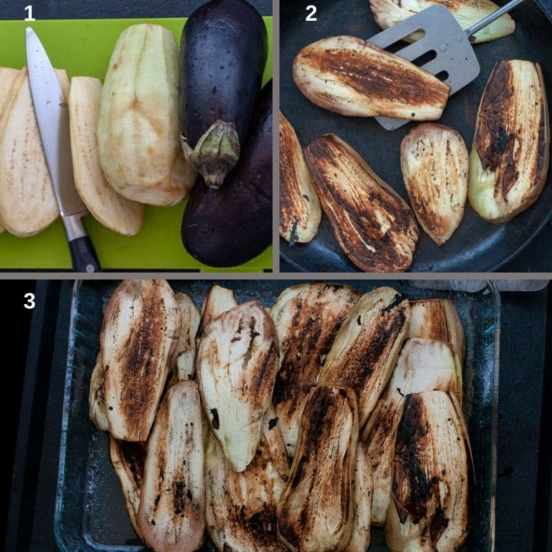 Grilling the eggplants