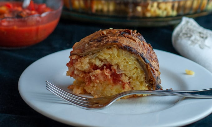 slice of rice timbale