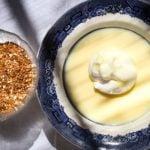 Floating Island Dessert meringue floating on custard