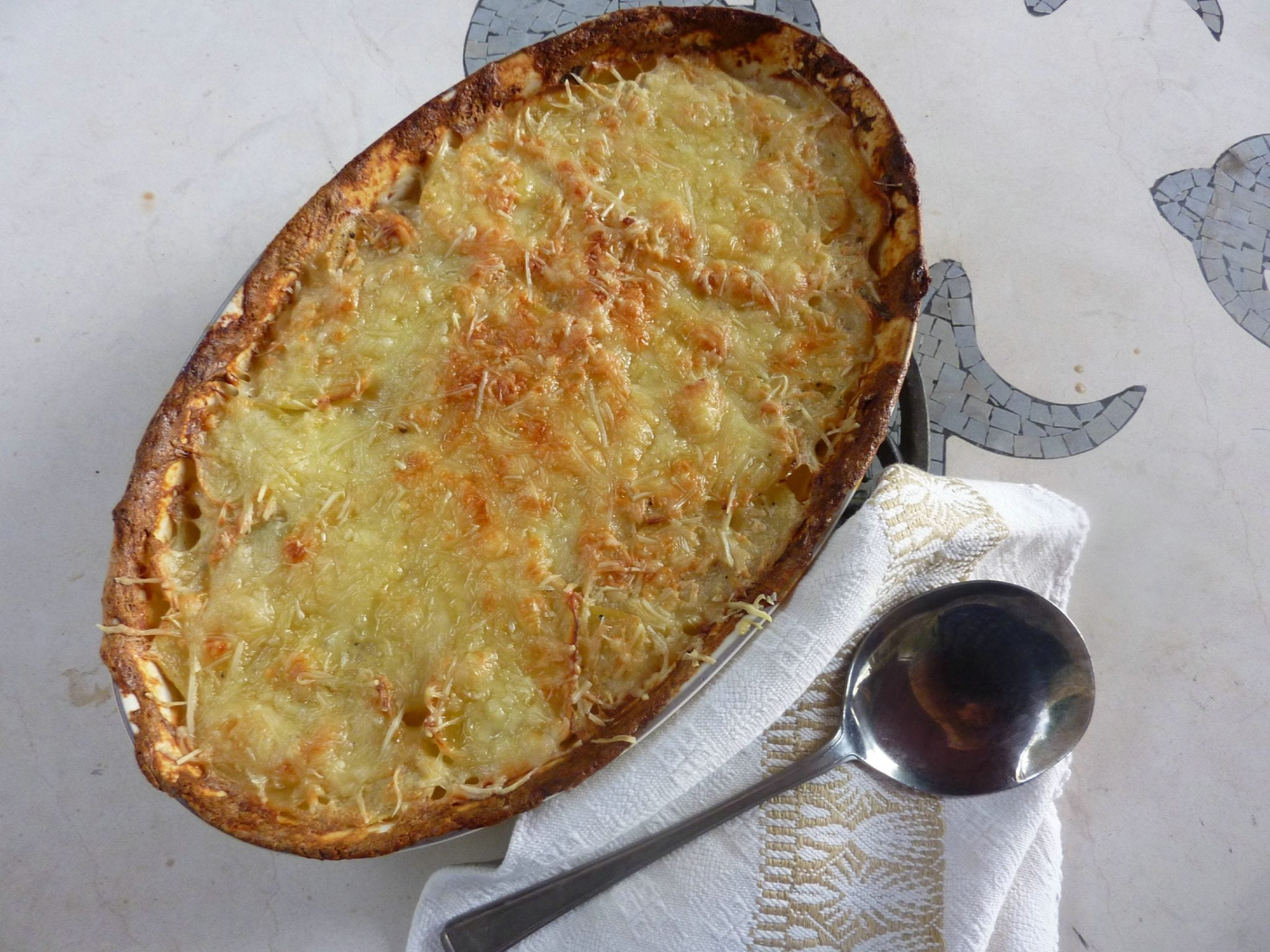 Potatoes Dauphinoise ready to be served