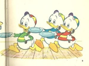 huey dewey and louie with a plate looking for food