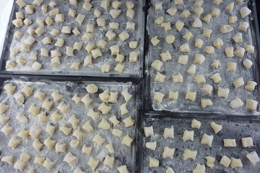 homemade gnocchi floured trays