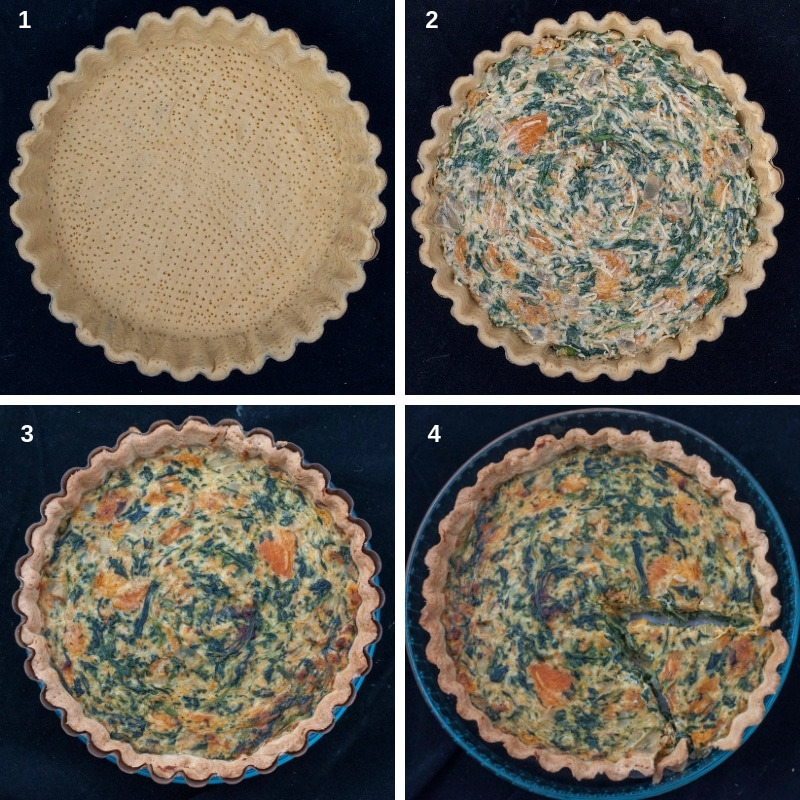 Process for making and cooking the quiche