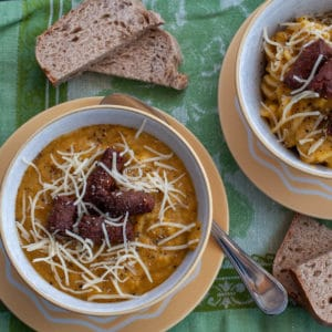 'Whatever Vegetables' soup with spicy merguez sausages