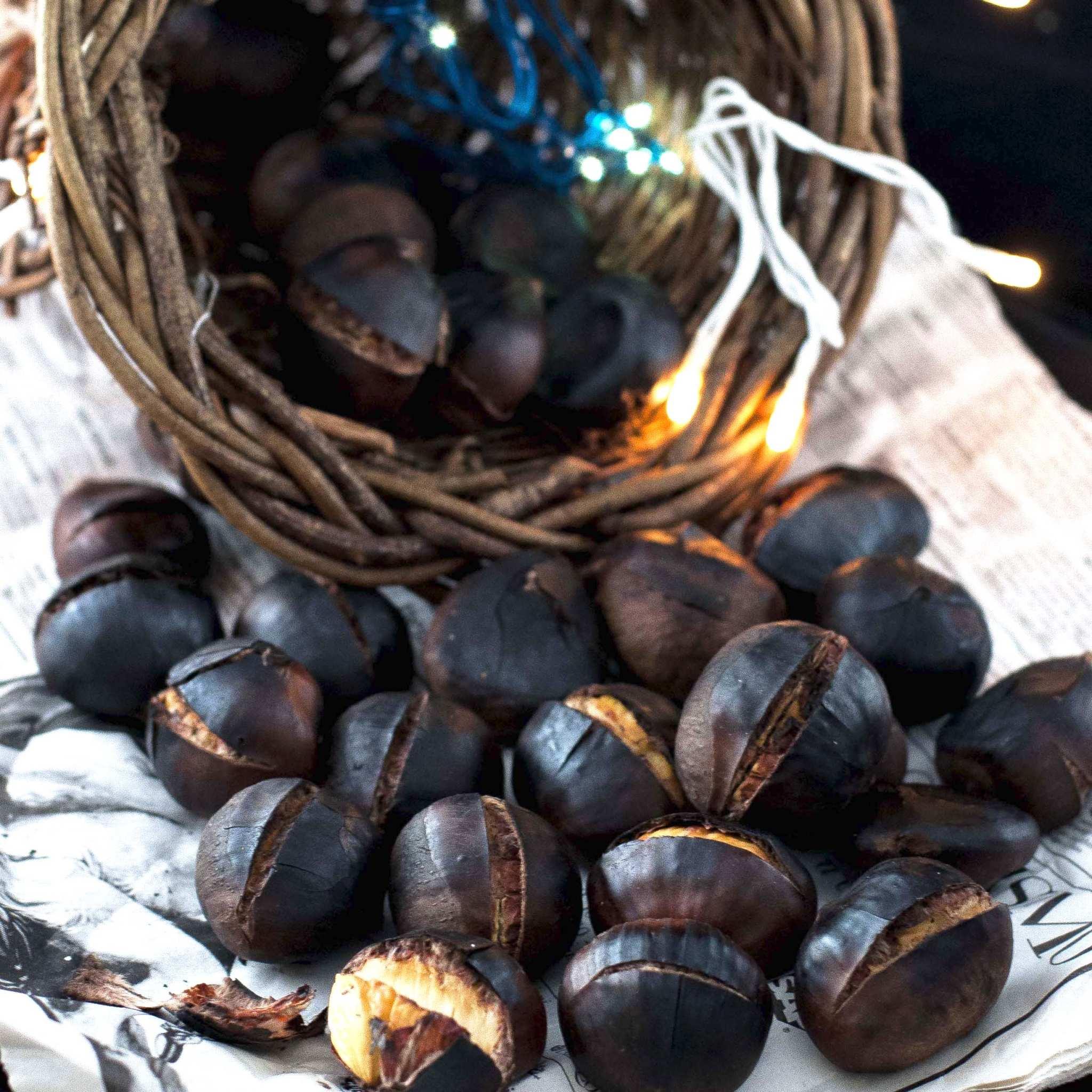 Roasted chestnuts verticals