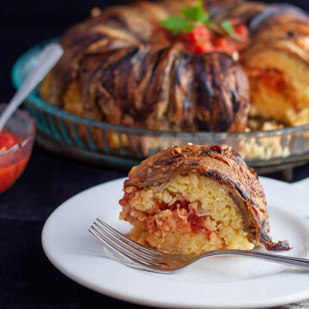 Vegetarian Rice Timbale with Grilled Aubergine Recipe