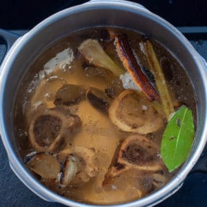 Brown stock made with roasted bone marrow in the pressure cooker
