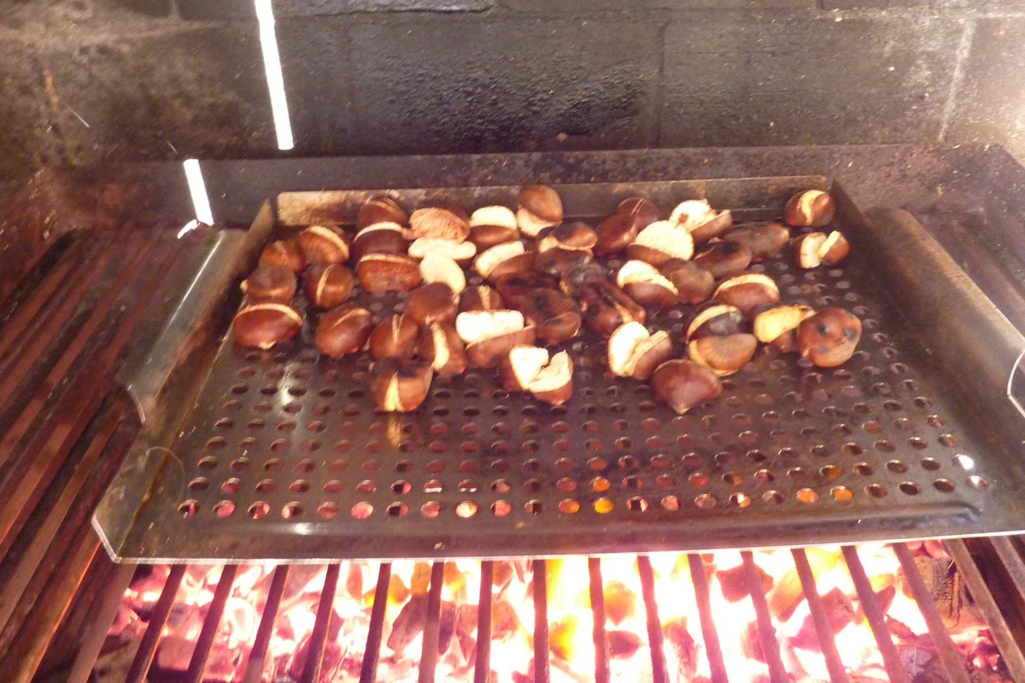 roasted chestnuts on BBQ