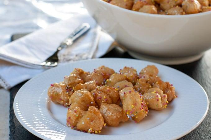 Struffoli served on a plate