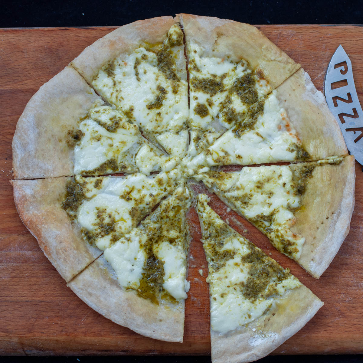 Traditional Italian White Pizza With Stracchino and Pesto