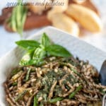 Traditionally, the Genovese pesto recipe is served with fresh Trofiepasta, green beans, and potatoes. They are all cooked together as the starch from the potatoes makes the sauce creamier. #yourguardianchef #pasta #italianfood #italianrecipe