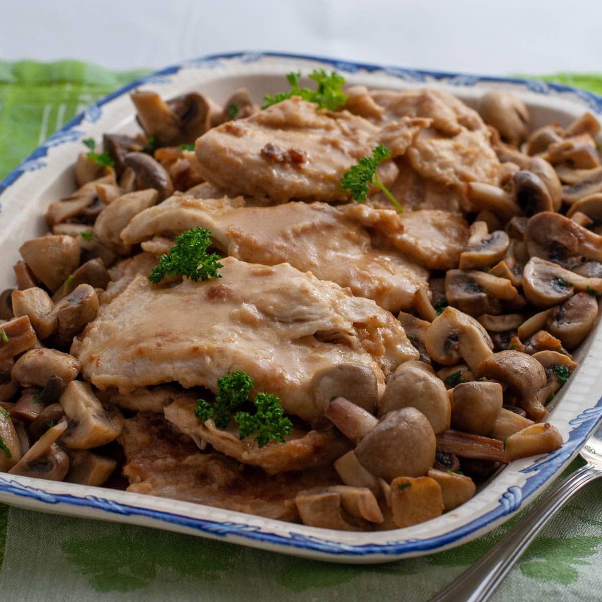 Creamy Chicken Marsala Without Cream with potatoes
