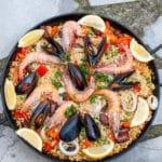 Homemade Paella Seafood And Sausage top