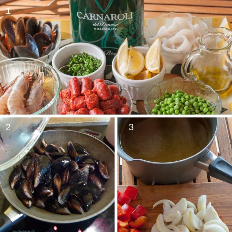 3 steps for the preparation of the paella ingredients