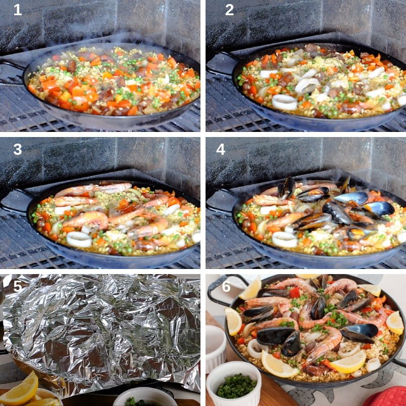 process shots of the cooking of the paella