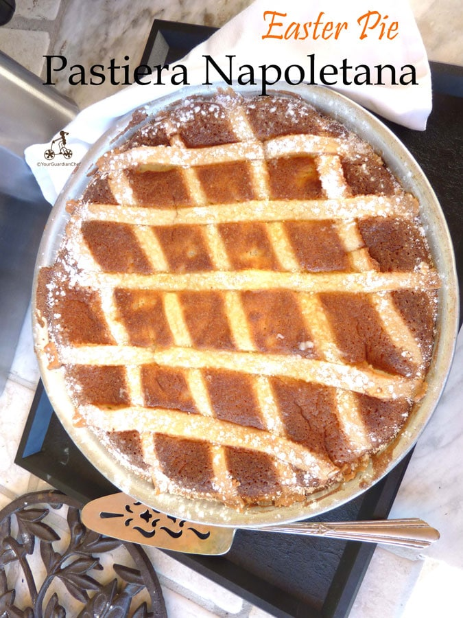 Pastiera Napoletana is a ricotta pie typically baked for Easter. The filling is made with wheat, ricotta and has a distinctive flavour of the flower orange water and lemon zest. #yourguardianchef #italianrecipe #easterrecipe