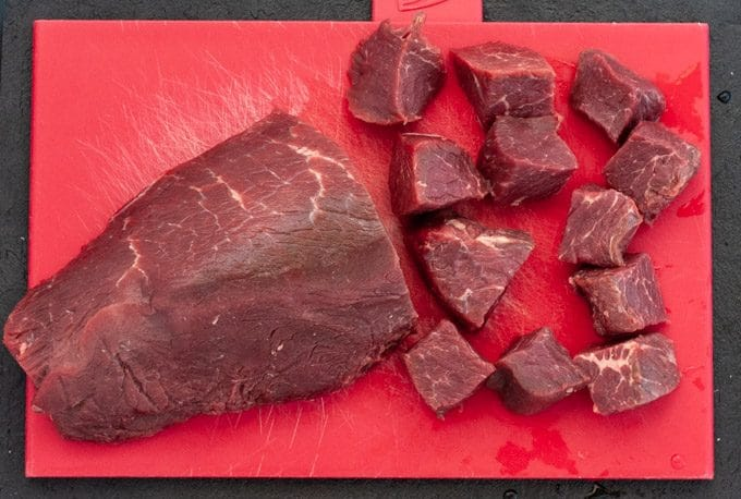 lean cut of beef for stew cut in cubes