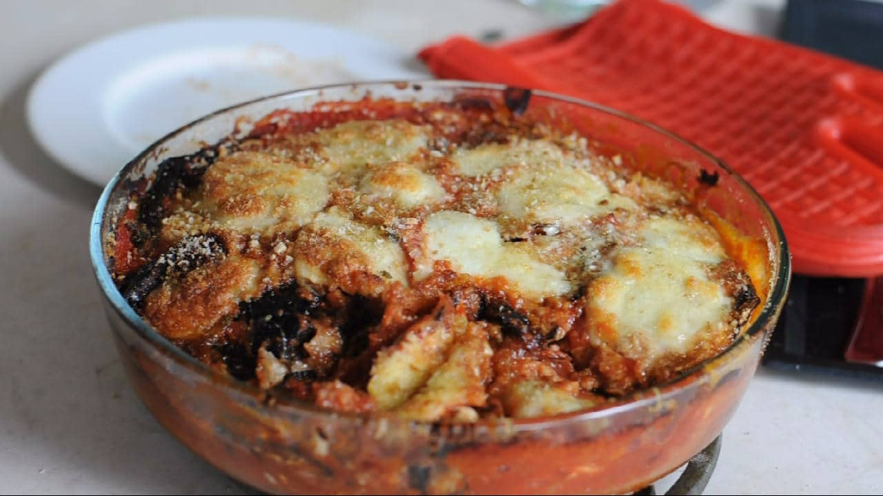 Eggplant Parmesan in the baking tray