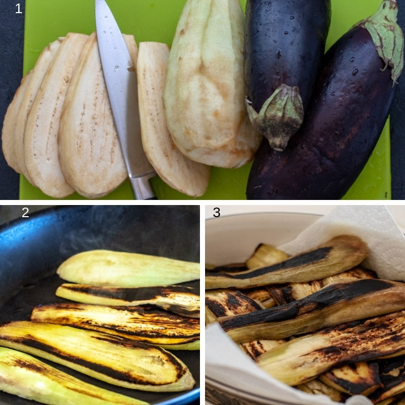 Step by step frying eggplants