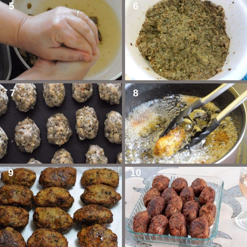 Step by step preparing the eggplant balls