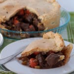 Beef pie with marsala a slice cut on a plate