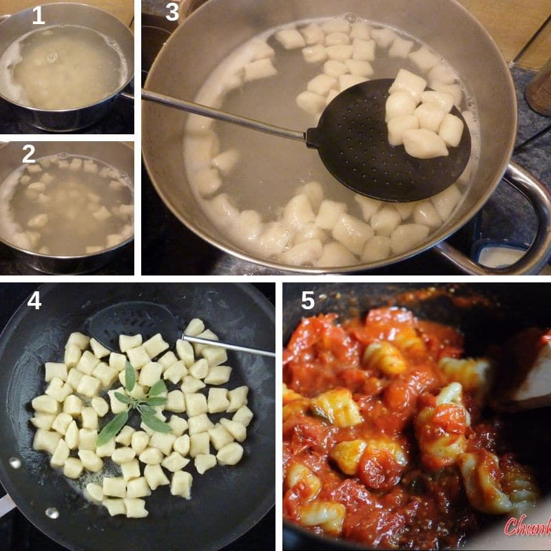 Cooking Italian homemade gnocchi