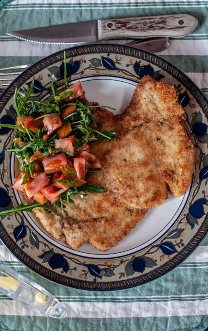 veal Milanese with arugula