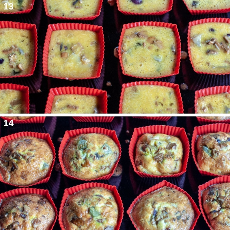 Frittata in cupcake molds raw and cooked