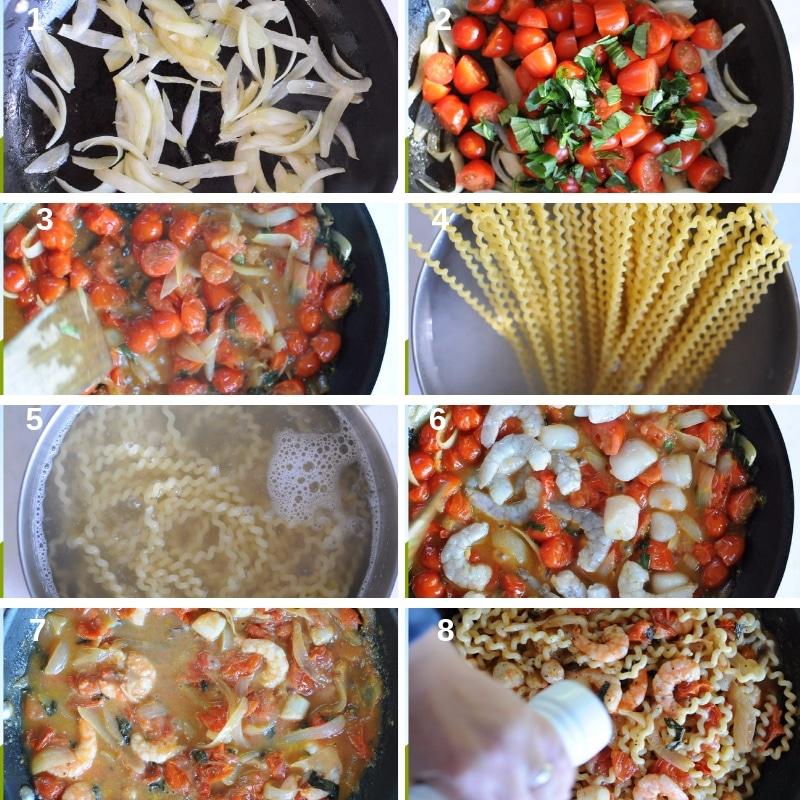 Process photos shrimp pasta