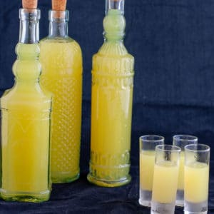 limoncello 3 bottles and full glasses