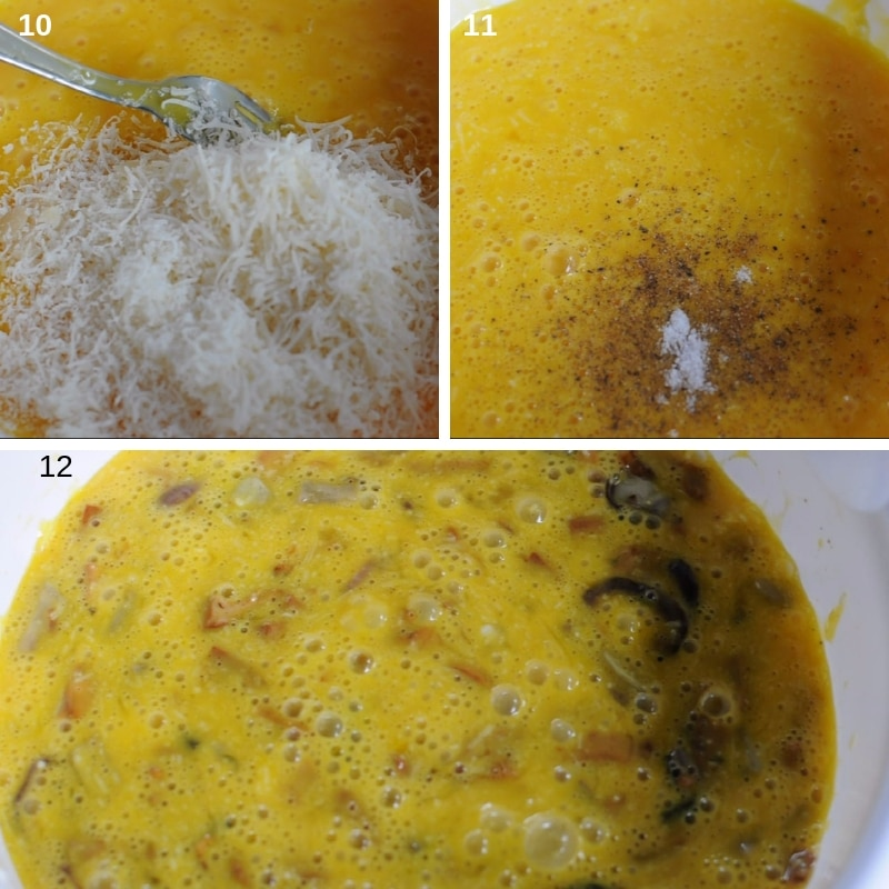 step by step making the frittata