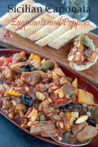 This Sicilian Caponata recipe is a traditional recipe, made with all local produce: peppers, eggplants, nuts and raisins. Sweet and sour, Middle Eastern flavours, Sicilian history into one recipe. Make ahead, the next day it will taste even better.  #yourguardianchef #appetizers #vegetarian #buffet #vegan #italianrecipe #italianfood