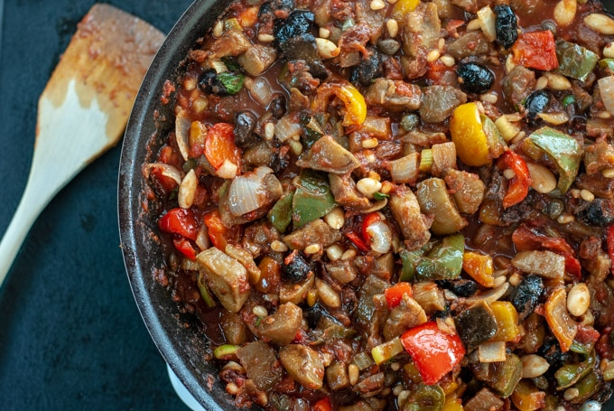 Caponata in the pan