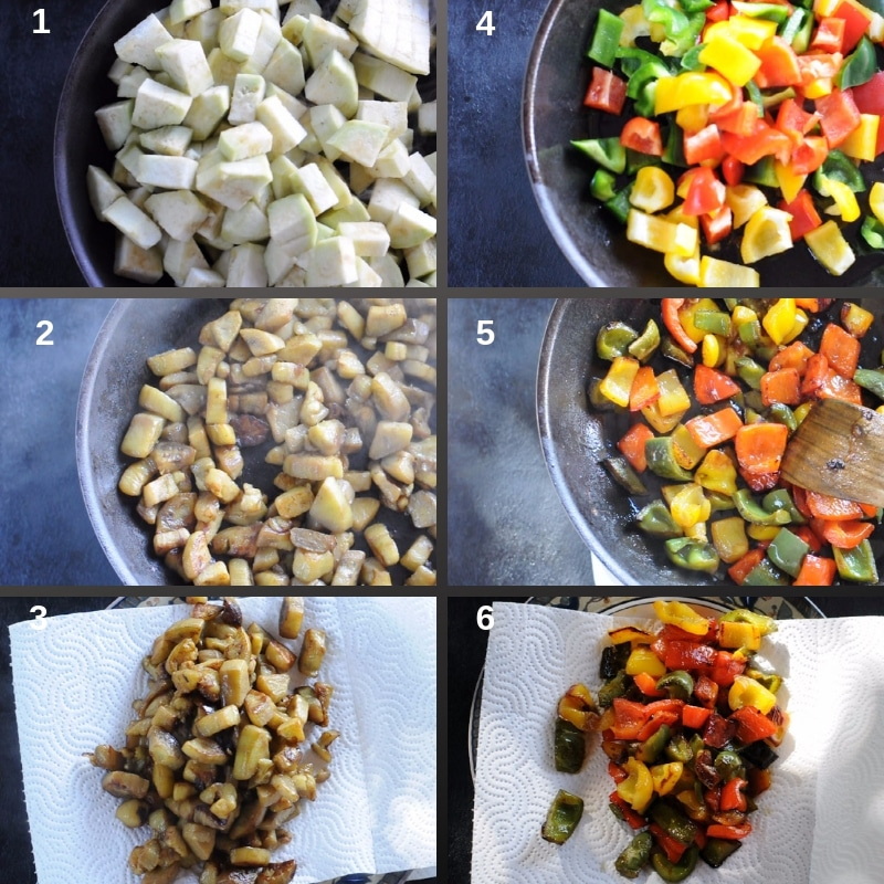 Process to fry eggplants and peppers