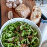 Puntarelle allaRomana is a classic Roman dish, Puntarelle are the shoots of the chicory cut very thin and seasoned with garlicand anchovies paste.