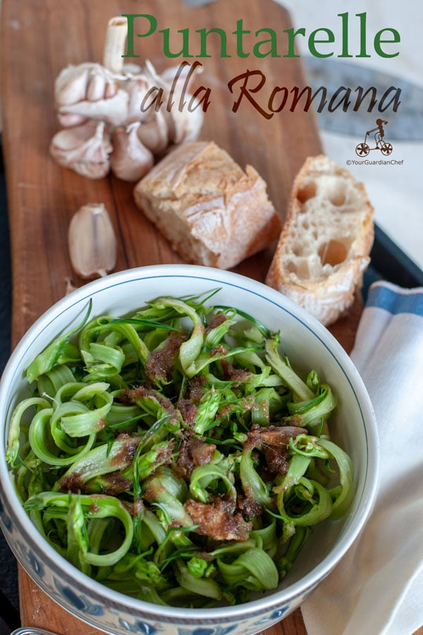 Puntarelle alla Romana is a classic Roman dish, Puntarelle are the shoots of the chicory cut very thin and seasoned with garlic and anchovies paste.