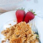 This pear crumble uses overripe pears but it's also good for using up any overripe fruits you have in the house. Cinnamon, brown sugar and a crunchy topping.