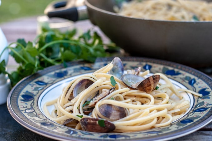 linguine with clams on a plate