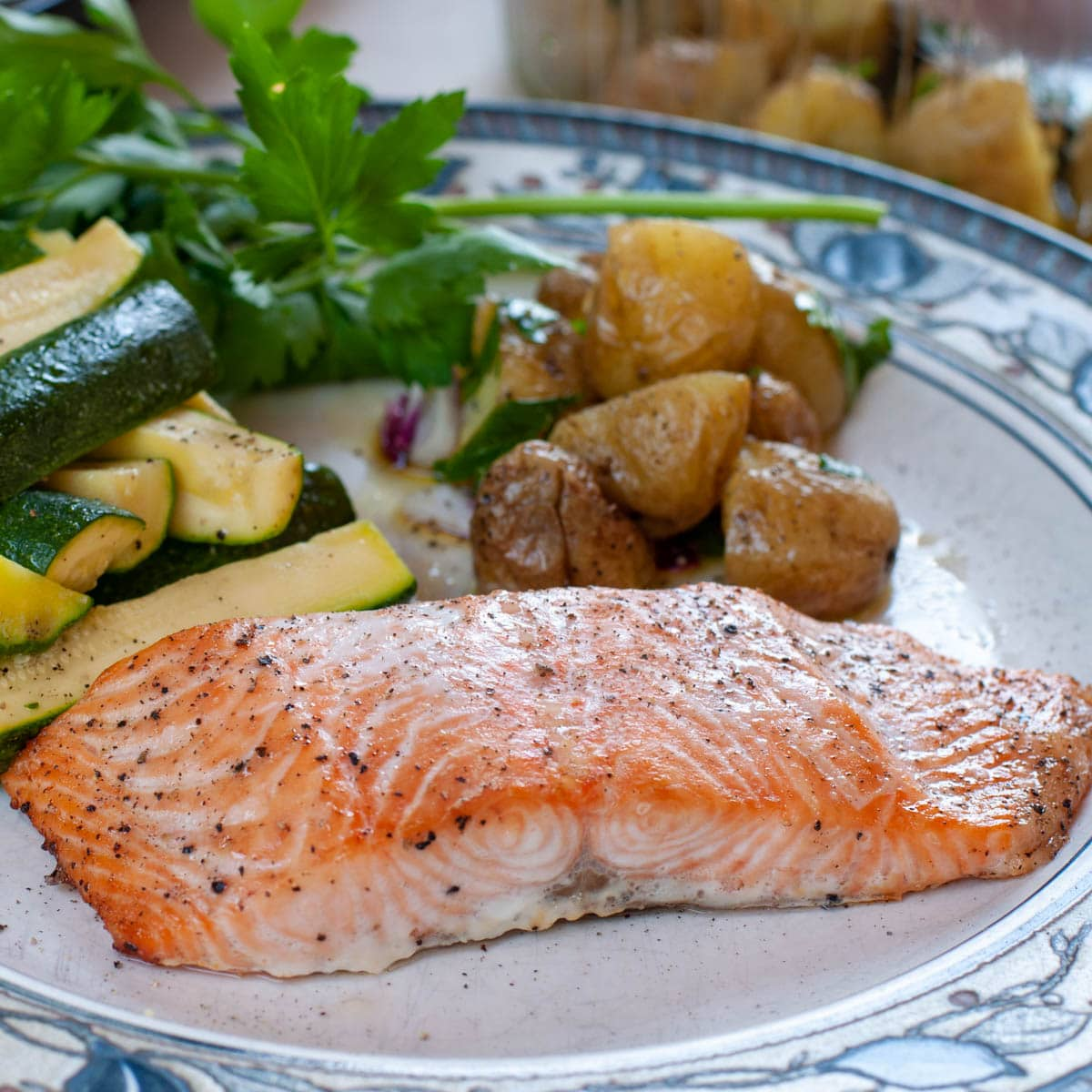 Baked Salmon Fillet In Oven With steamed zucchini