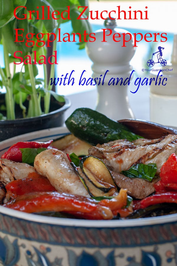 This grilled zucchini, eggplants and peppers salad is a great side dish for Mediterranean style barbecue: zucchini, eggplants and peppers.  Seasoned with basil, garlic and extra virgin olive oil, it is even better if prepared the day before