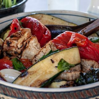 grilled zucchini eggplants and peppers